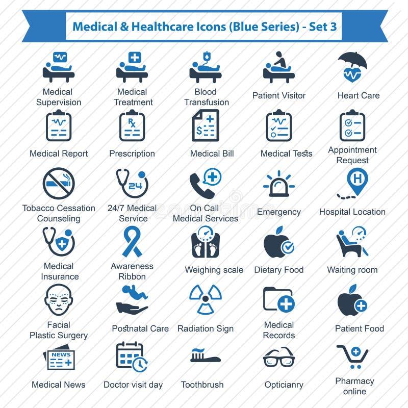 Serie azul médica y de la atención sanitaria de los iconos - sistema 3 stock de ilustración
