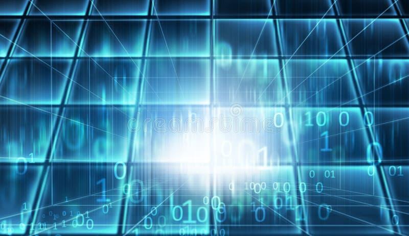 Serie blu di concetto della stanza di dati del Cyberspace di tema royalty illustrazione gratis