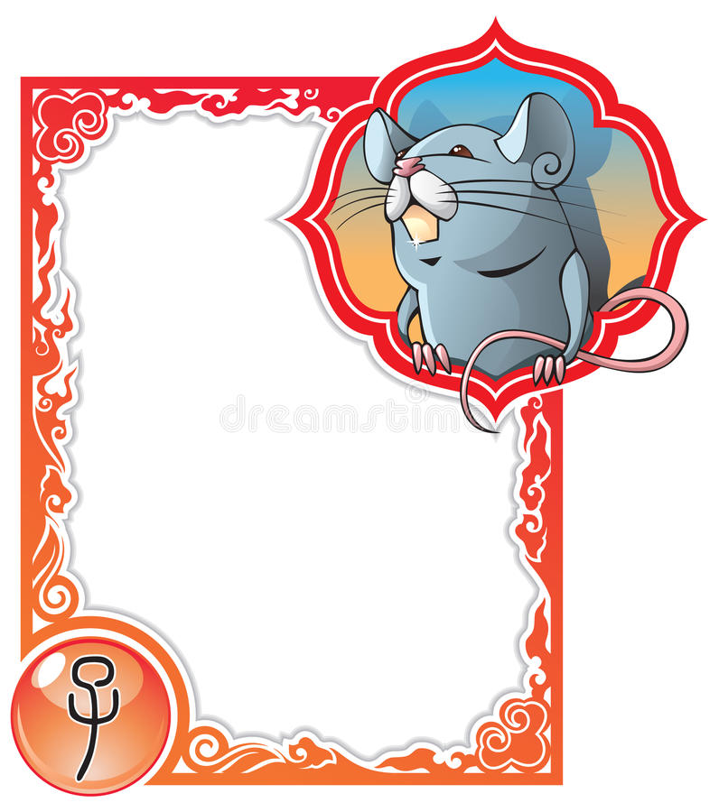 Serie china del marco del horóscopo: Rata libre illustration