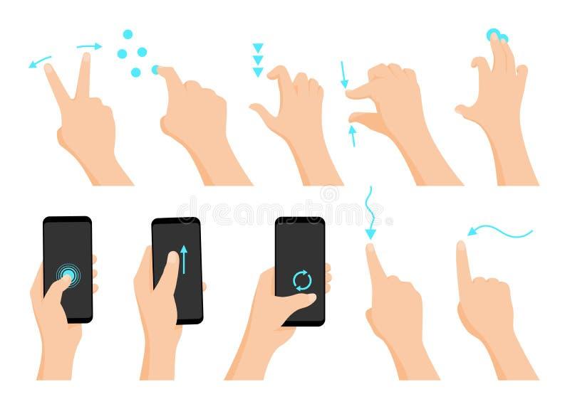 Serie coloreada plana del icono de los gestos de mano de la pantalla táctil con las flechas que muestran la dirección del movimie ilustración del vector