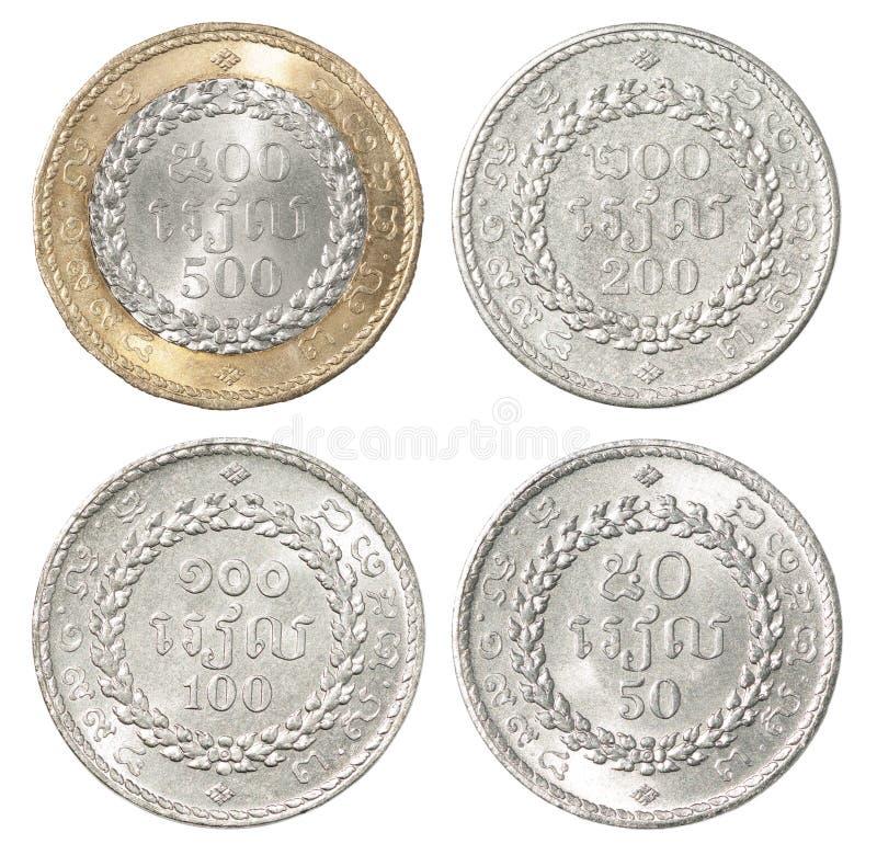 Serie completa di moneta della Cambogia immagini stock