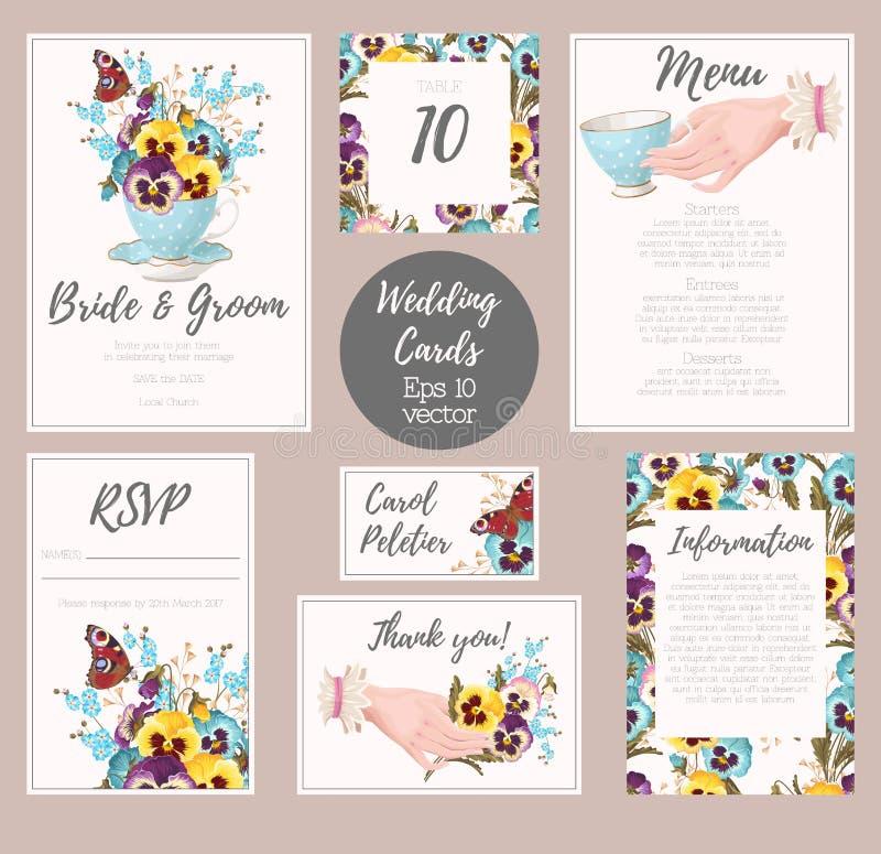 Serie d'annata di nozze illustrazione di stock
