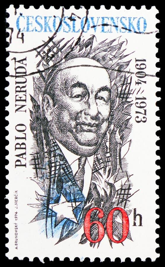 Serie das personalidades de Pablo Neruda (1904-1973), da cultura e da ciência, cerca de 1974 imagem de stock royalty free