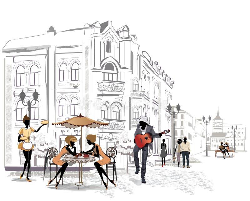 Serie de cafés de la calle en la ciudad ilustración del vector