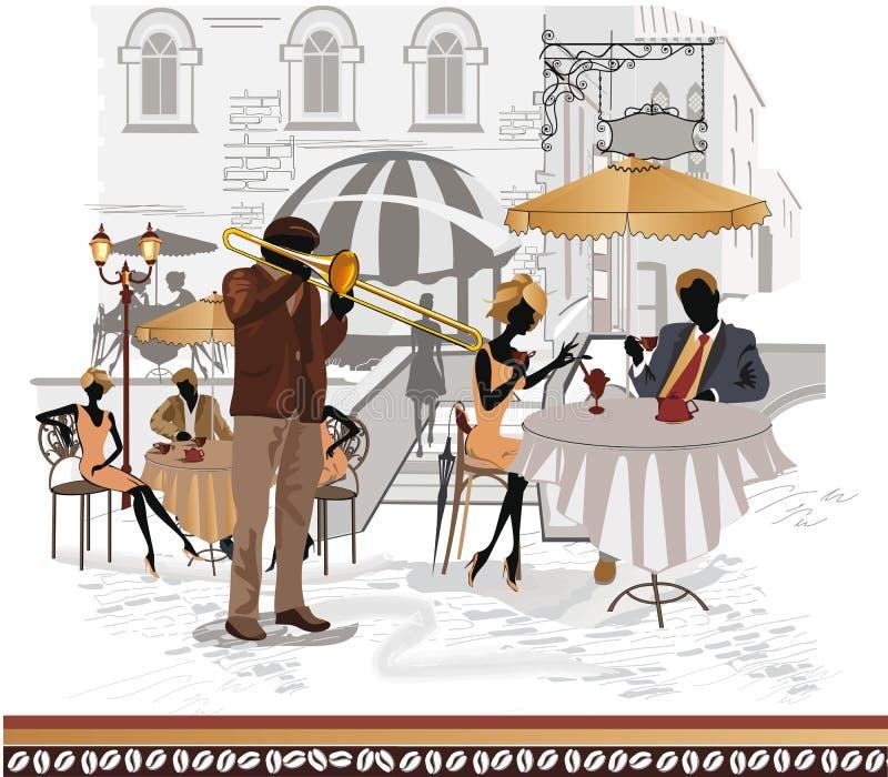 Serie de cafés de la calle en la ciudad con los músicos libre illustration