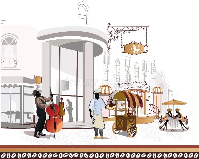 Serie de cafés de la calle en la ciudad con un cocinero y ilustración del vector