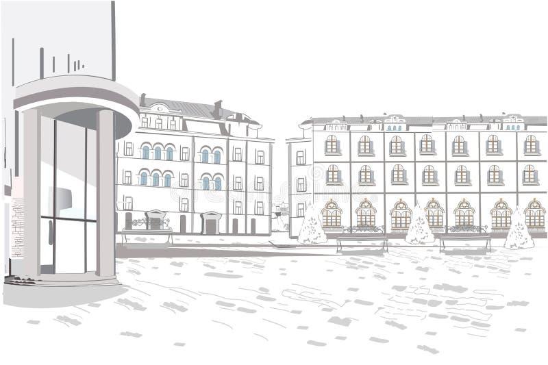 Serie de fondos adornados con las flores, viejas opiniones de la ciudad y caf?s de la calle stock de ilustración