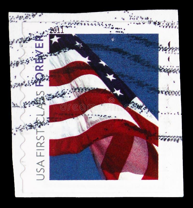 Serie de la bandera americana, de la señora 2010-11 Liberty y de la bandera, circa 2011 fotos de archivo