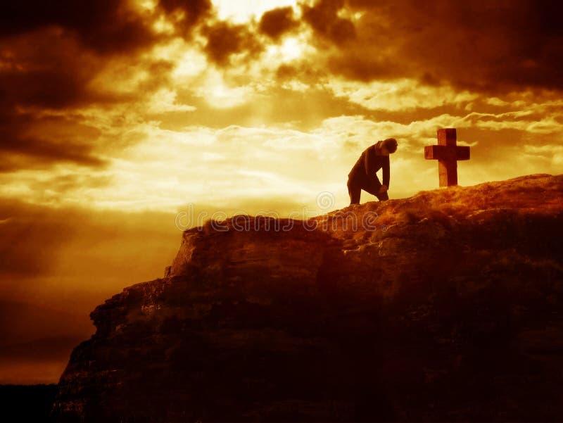 Serie de la cruz de Calvary - rezo fotografía de archivo libre de regalías