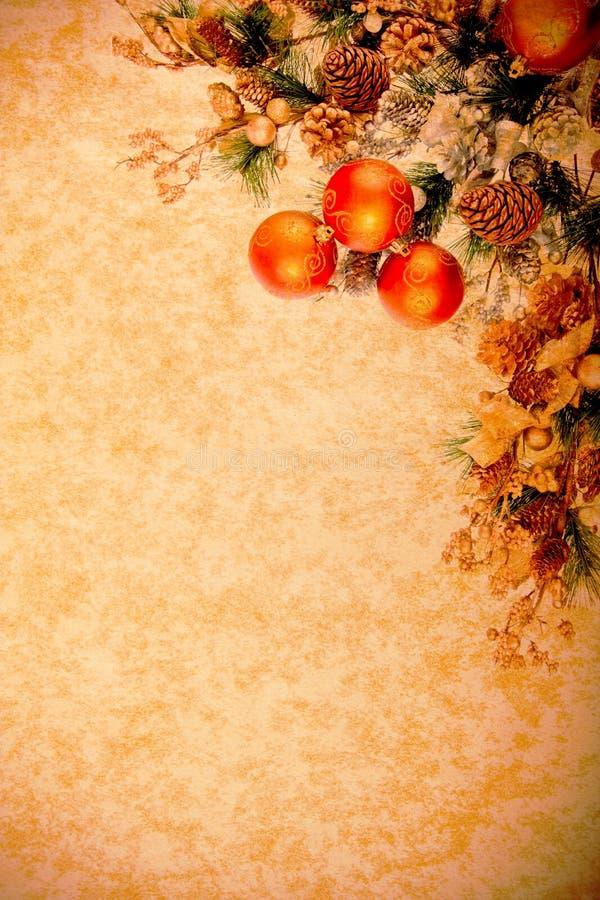 Serie de la decoración de la Navidad de la vendimia foto de archivo