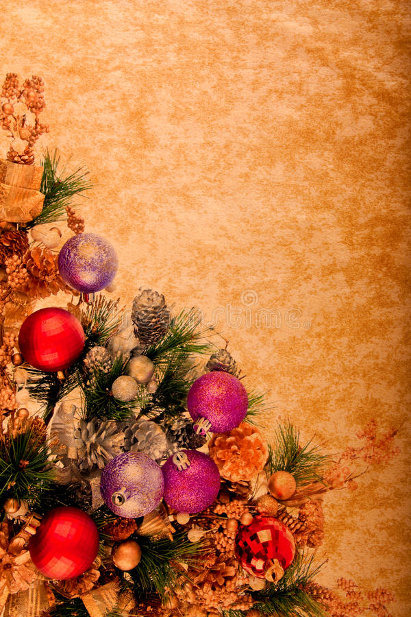 Serie de la decoración de la Navidad de la vendimia fotografía de archivo libre de regalías