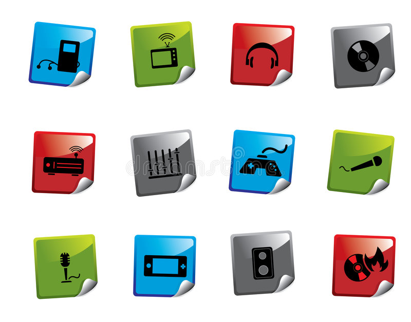 Serie de la etiqueta engomada del icono del Web ilustración del vector