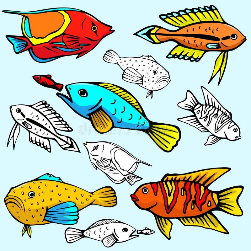 Serie de la ilustración de Seaworld ilustración del vector