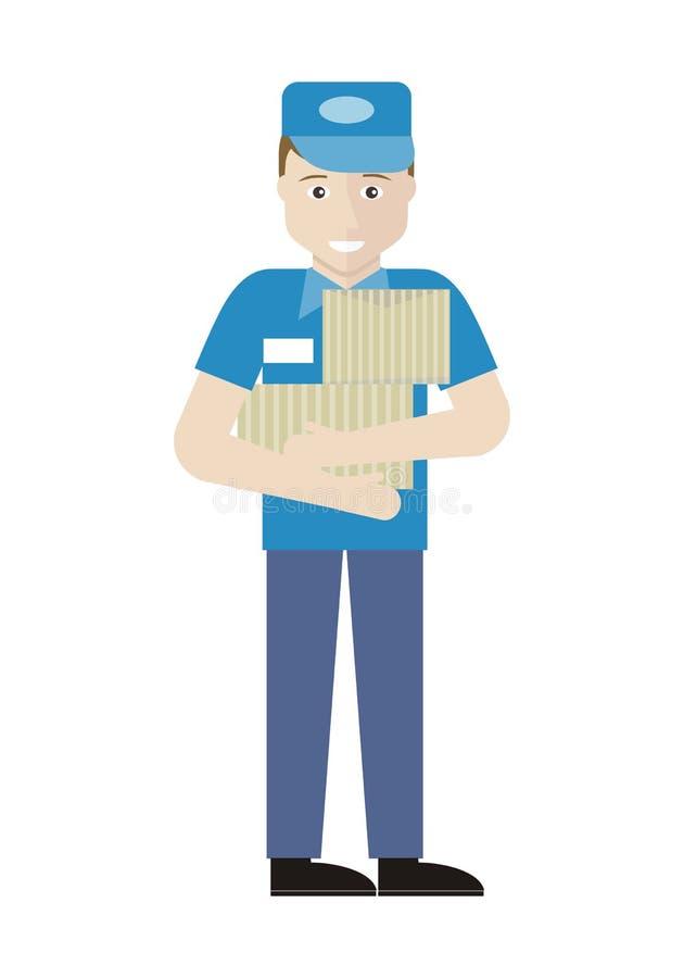 Serie de la profesión con las ventas del hombre joven auxiliares stock de ilustración
