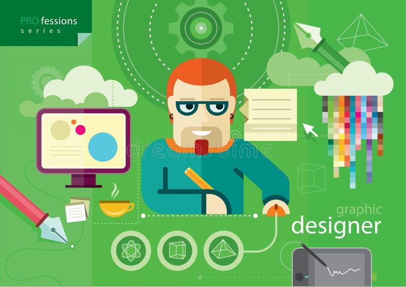 Serie de la profesión del diseñador gráfico stock de ilustración
