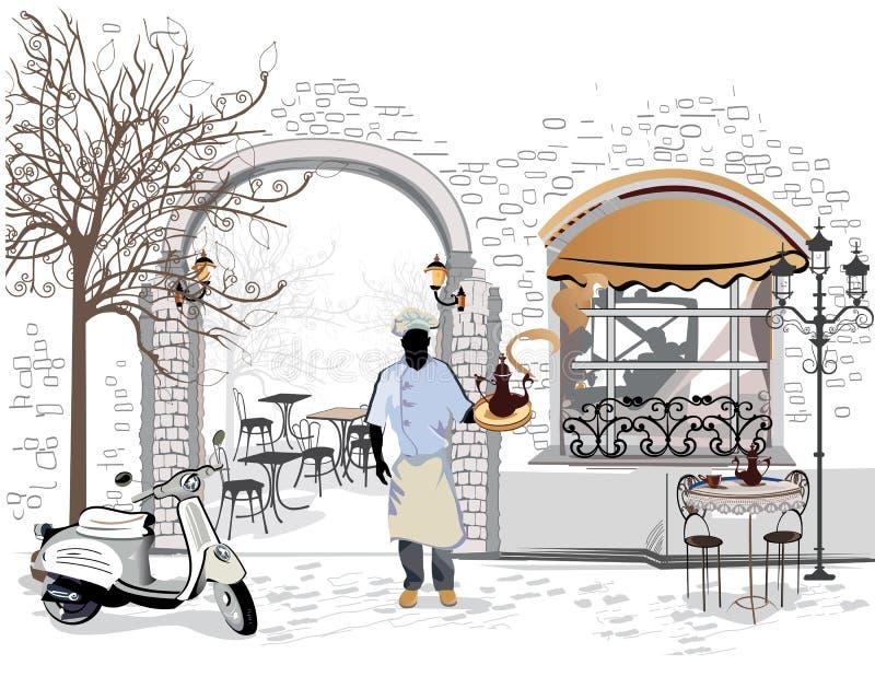 Serie de los cafés de la calle con un cocinero ilustración del vector