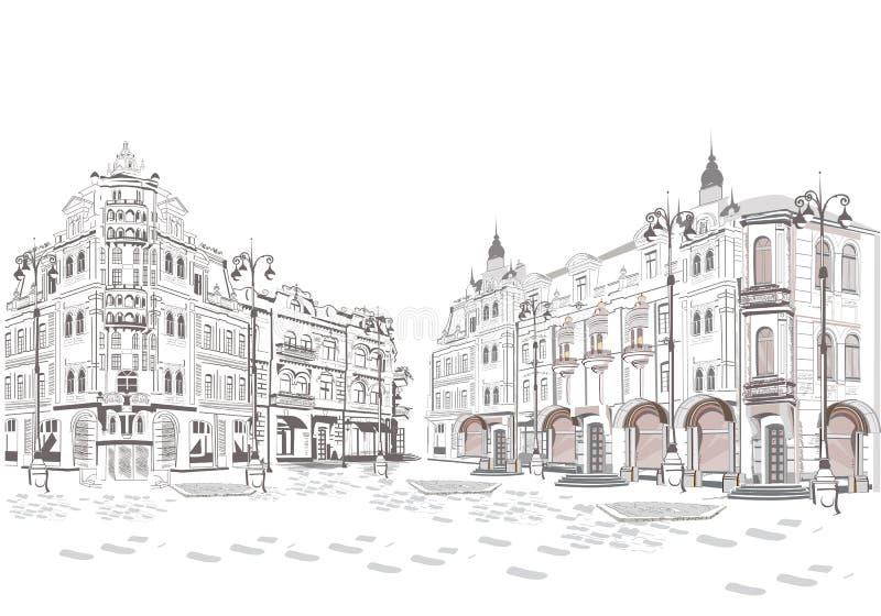 Serie de opiniones de la calle en la ciudad vieja stock de ilustración