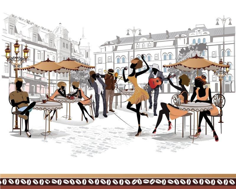 Serie de opiniones de la calle en la ciudad vieja con los músicos stock de ilustración