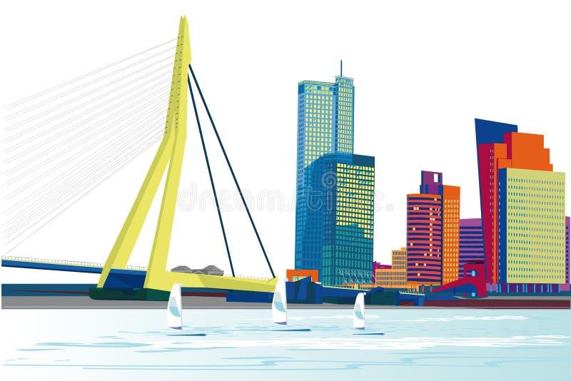 Serie de opiniones modernas de la ciudad con los rascacielos y los centros comerciales libre illustration