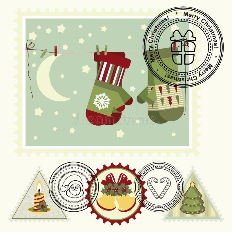 Serie de sellos estilizados del poste de la Navidad. libre illustration