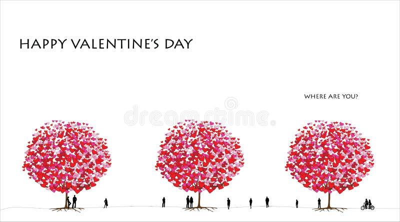 Serie del árbol de amor, día de tarjeta del día de San Valentín - 01 de 06 stock de ilustración