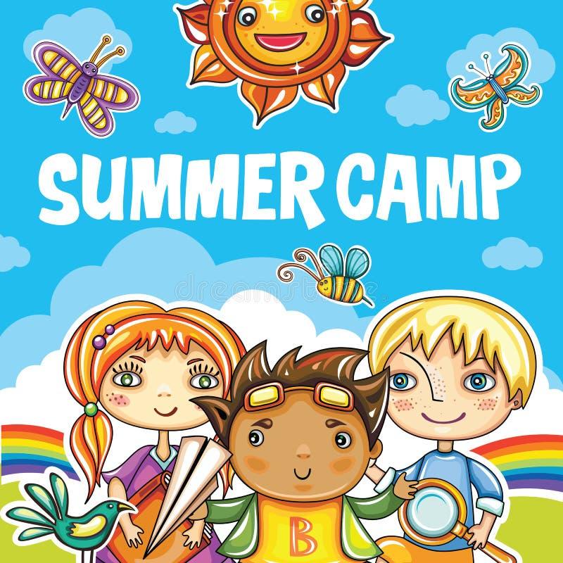 Serie del campamento de verano de los niños ilustración del vector