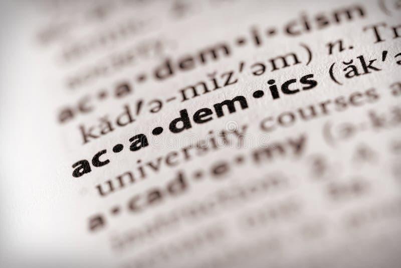 Serie del dizionario - informazioni: academics immagine stock