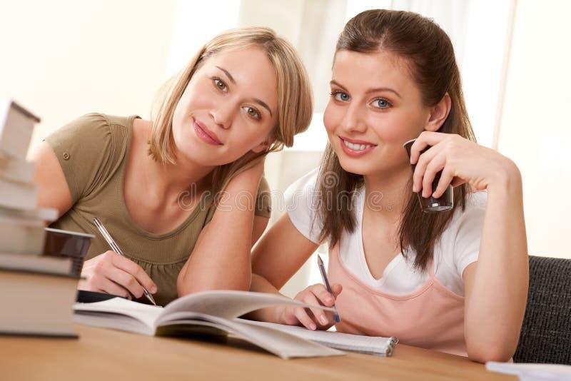 Serie del estudiante - dos estudiantes que estudian a casa fotografía de archivo