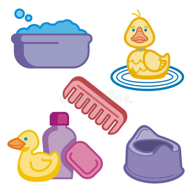 Serie del icono del bebé y de los cabritos ilustración del vector