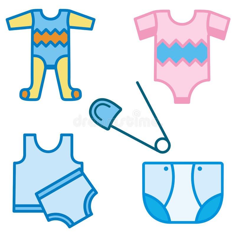 Serie del icono del bebé y de los cabritos libre illustration