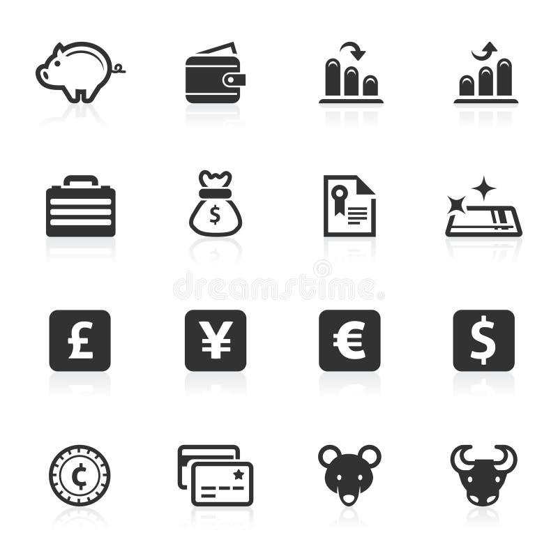 Serie del minimo de los iconos del asunto y de las finanzas ilustración del vector