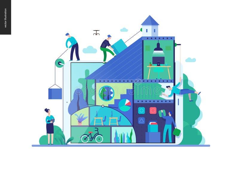 Serie del negocio - plantilla del web de la compañía, del trabajo en equipo y de la colaboración ilustración del vector