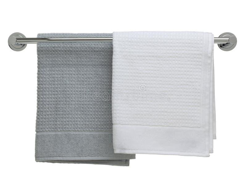 Serie del objeto del cuarto de baño - toallas en un carril imagen de archivo libre de regalías
