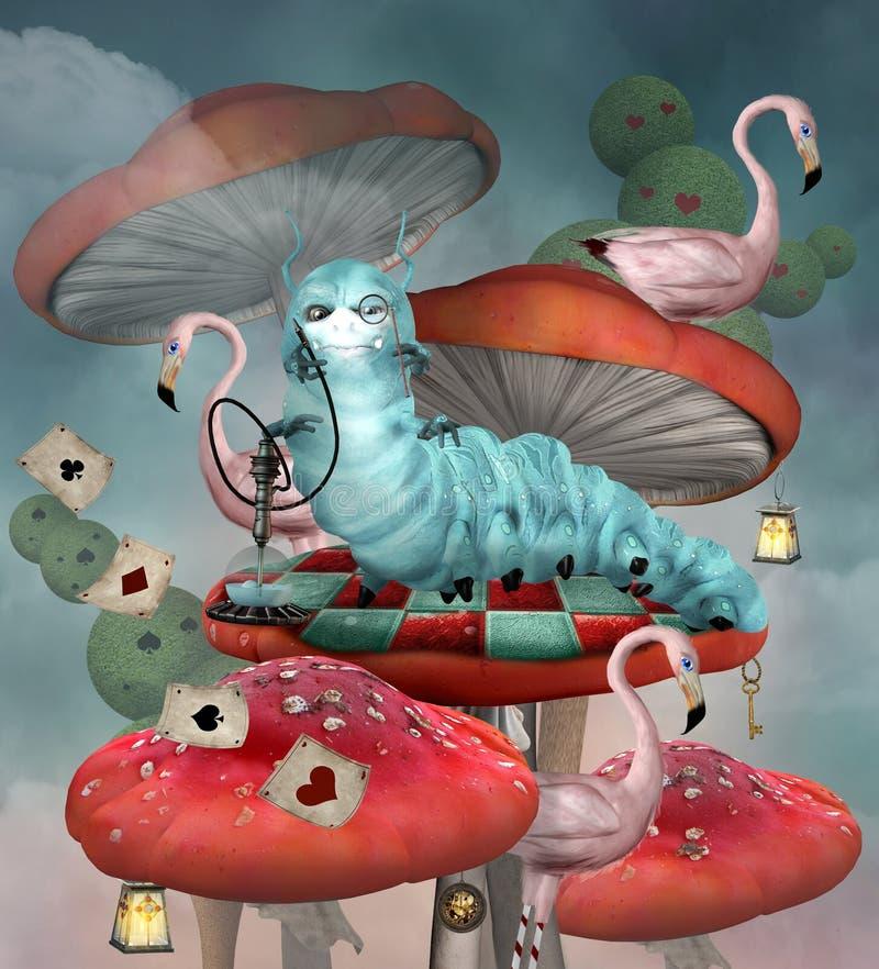 Serie del país de las maravillas - Caterpillar fuma una cachimba ilustración del vector