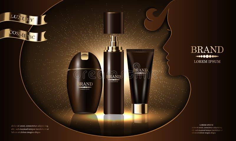 Serie del prodotto di bellezza dei cosmetici, sciampo premio della crema dello spruzzo del corpo per cura di pelle, presentazione royalty illustrazione gratis
