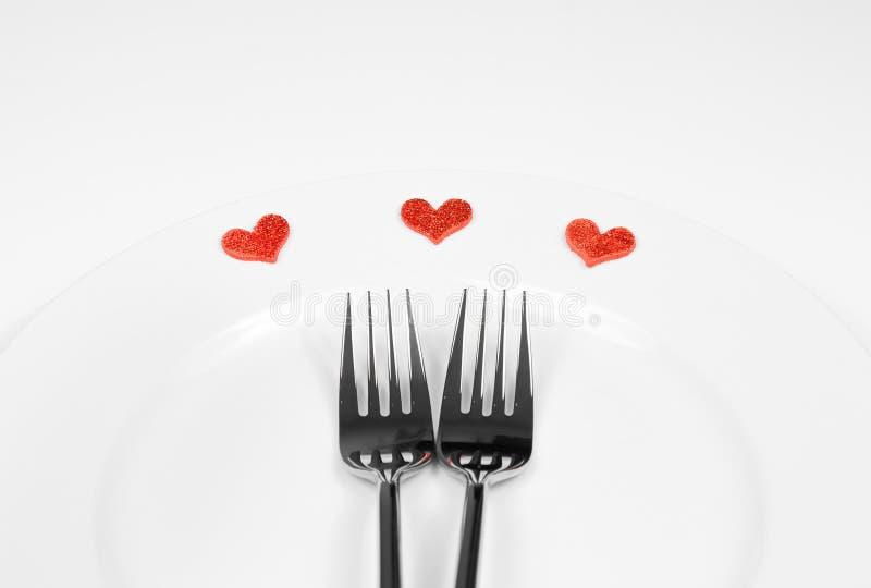 Serie del restaurante, cena del día de San Valentín en el fondo blanco imágenes de archivo libres de regalías
