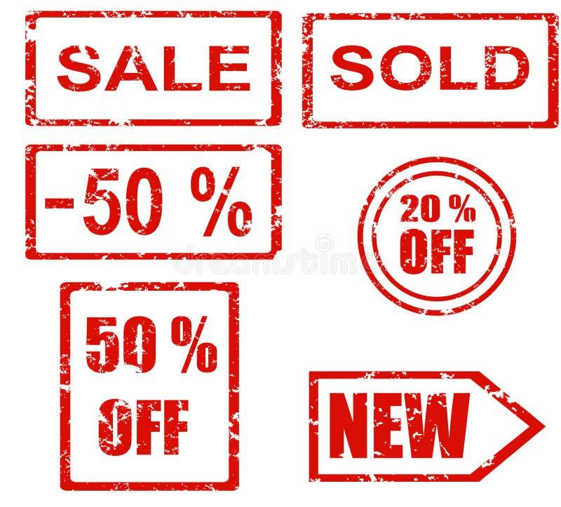 Serie del timbro di gomma - vendite illustrazione di stock