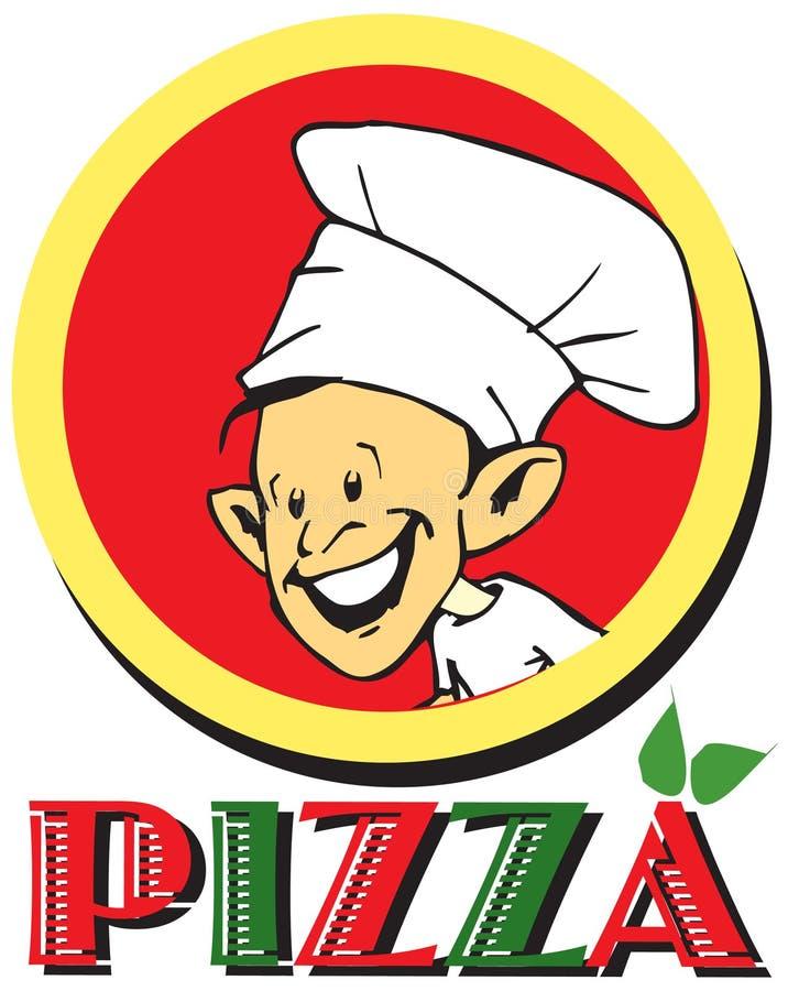 Serie del trabajo - pizzaiolo y pizza libre illustration