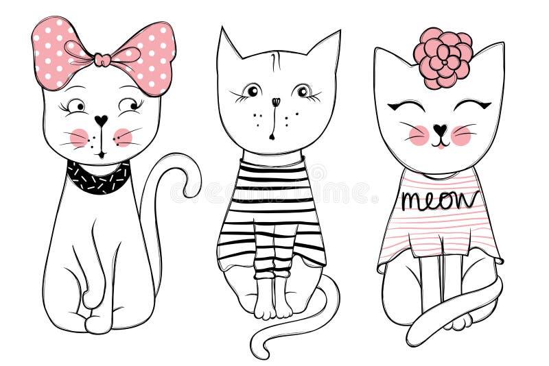 Serie del vector con los gatos lindos de la moda Sistema elegante del gatito libre illustration
