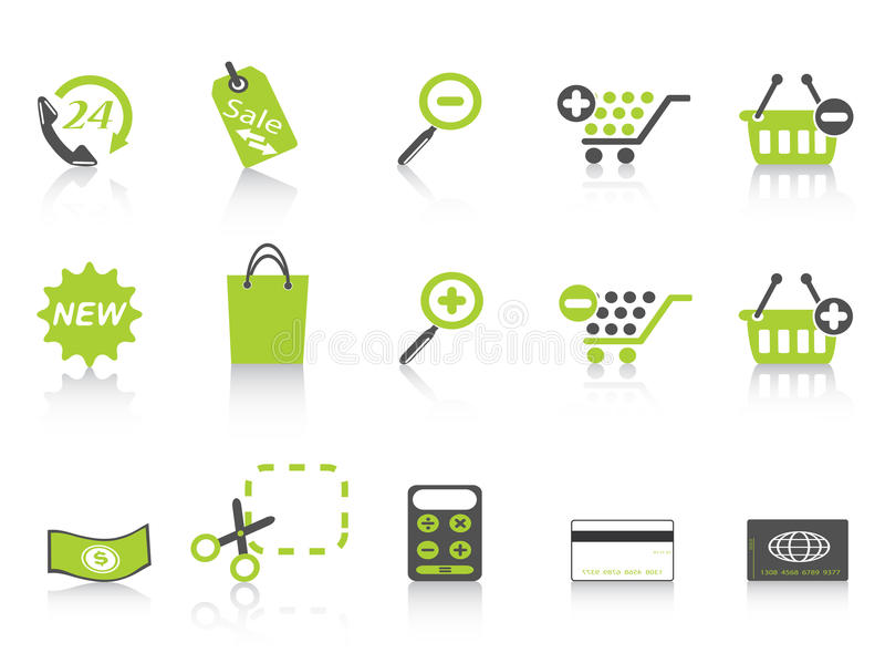 Serie del verde del icono de las compras libre illustration