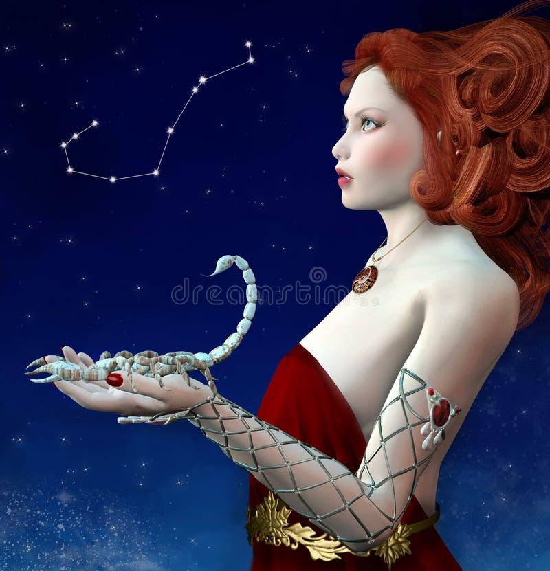 Serie del zodiaco - escorpión como mujer hermosa del pelirrojo ilustración del vector