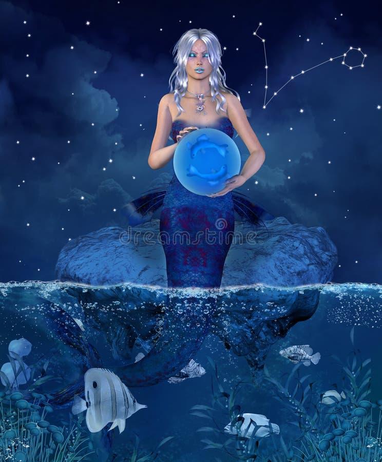 Serie del zodiaco - Piscis ilustración del vector