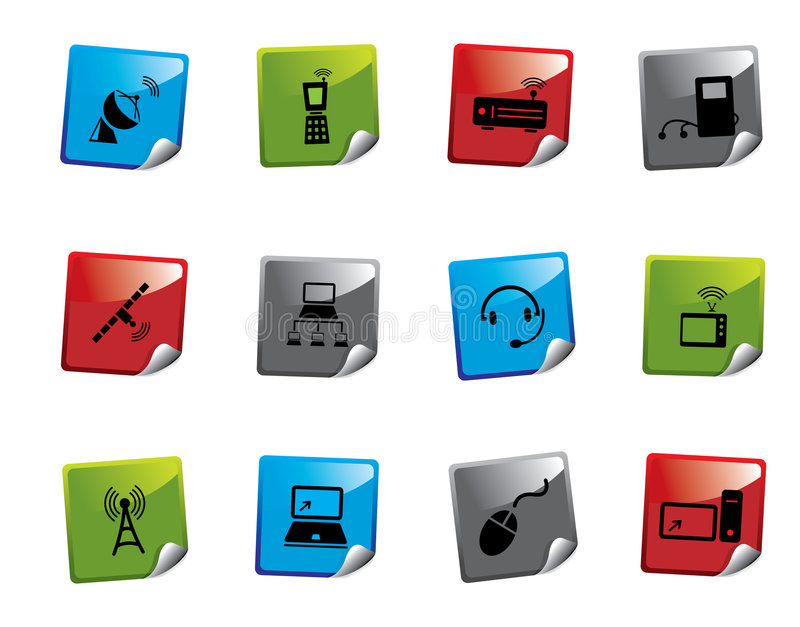 Serie dell'autoadesivo dell'icona di Web royalty illustrazione gratis
