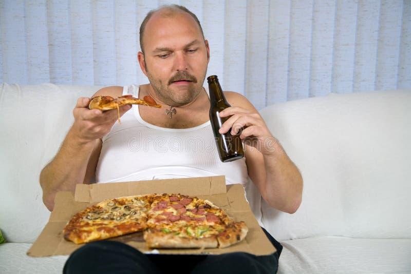 Serie della pizza e della birra fotografia stock libera da diritti