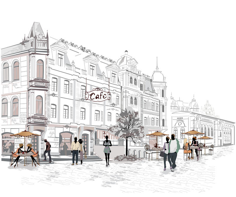 Serie delle vie con la gente nella vecchia città illustrazione vettoriale