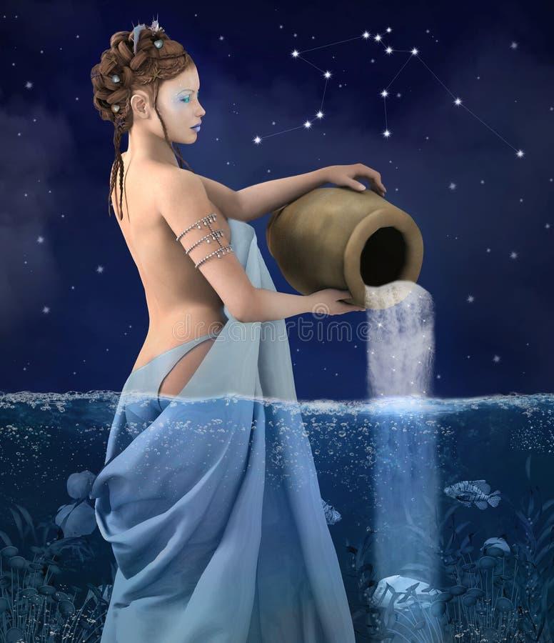 Serie dello zodiaco - acquario royalty illustrazione gratis