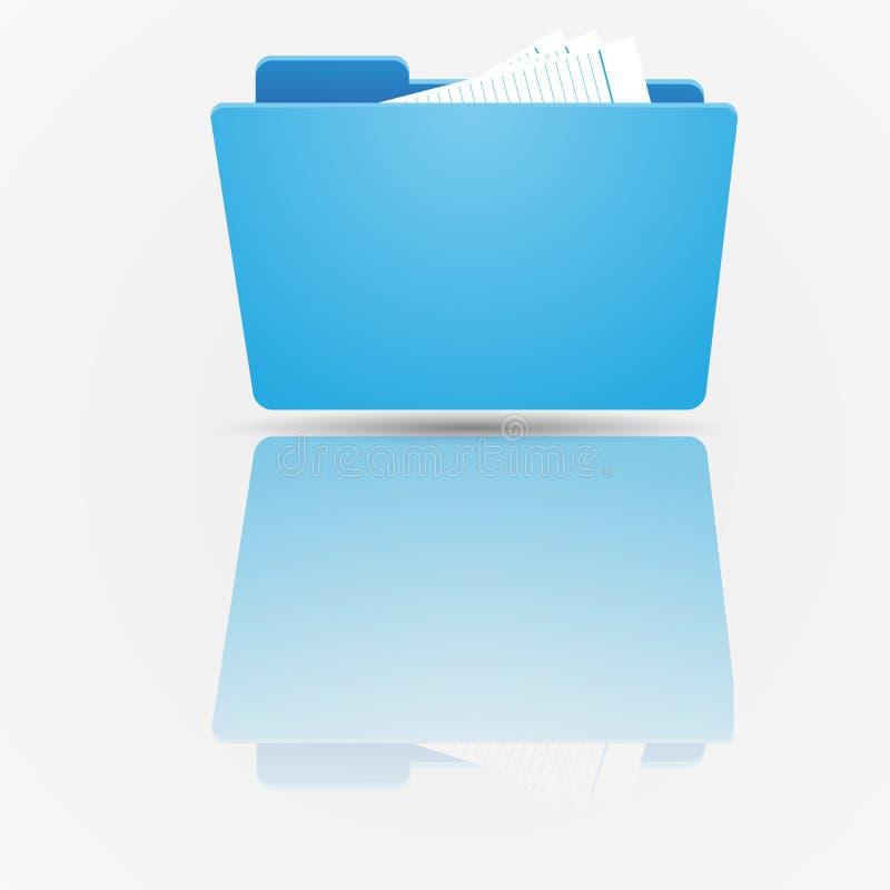 Serie determinada del icono de la carpeta Carpeta azul abierta del estándar con los documentos en el fondo de la pendiente libre illustration