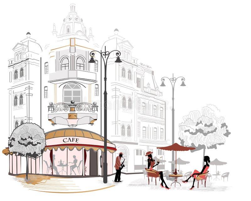 Serie di abbozzi delle vie con i caffè royalty illustrazione gratis