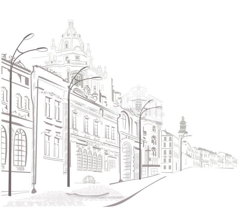 Serie di abbozzi delle vie in vecchia città royalty illustrazione gratis
