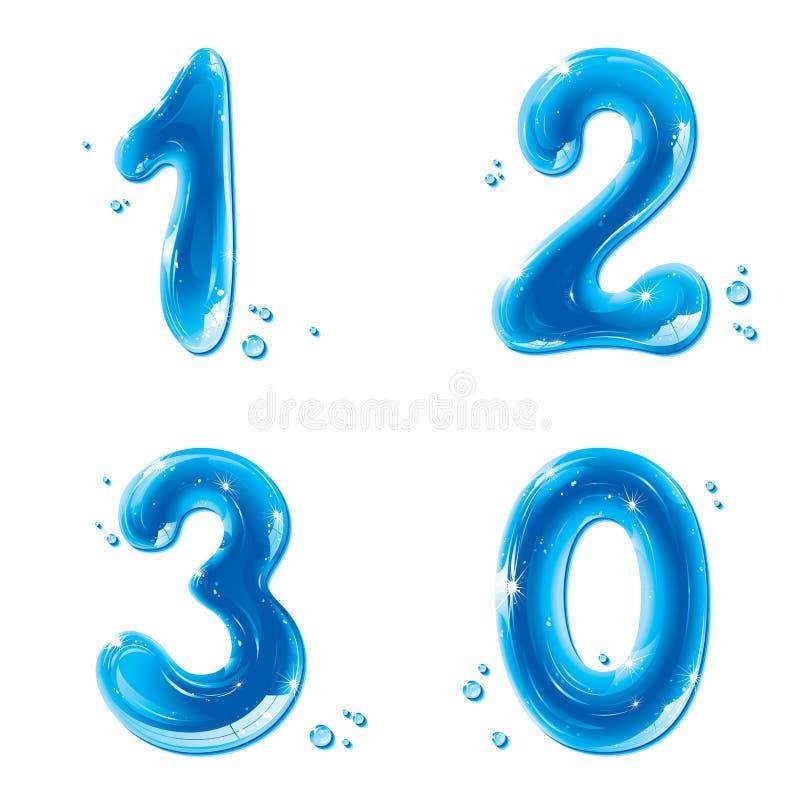 Serie di ABC - innaffi i numeri liquidi - 1 2 3 0 royalty illustrazione gratis